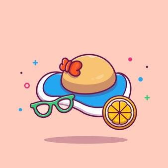 Ilustracja kapelusz i okulary przeciwsłoneczne na plaży. summer beach travel. koncepcja wakacje na białym tle