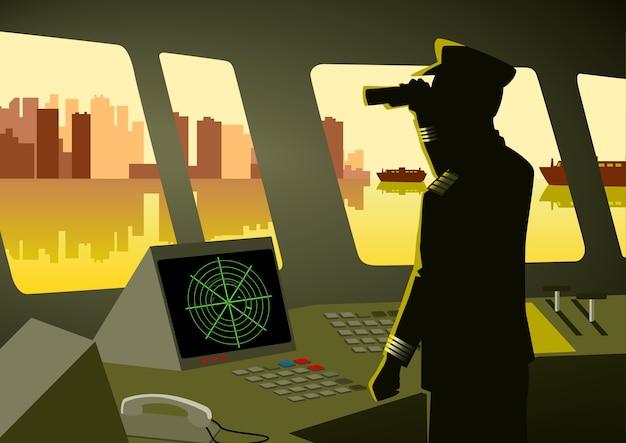 Ilustracja kapitana statku za pomocą lornetki