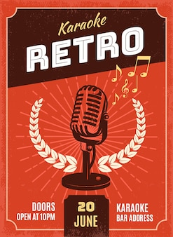 Ilustracja karaoke w stylu retro