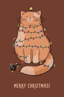 Ilustracja karta boże narodzenie czerwony kot z girlandą nowego roku
