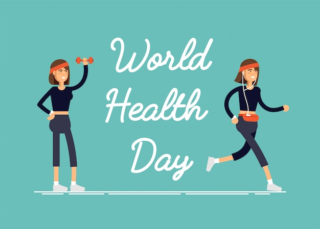 Ilustracja karta świąteczna światowy dzień zdrowia z feamelem wykonującym ćwiczenia fizyczne, trening fitness, sport.