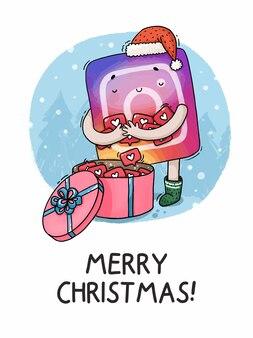 Ilustracja kartka świąteczna najlepszy prezent