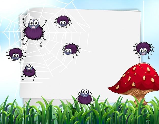 Ilustracja kartki papieru z pająkami i grzybami