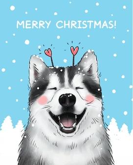 Ilustracja kartki świąteczne ładny uśmiechnięty husky