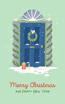 Ilustracja kartki świąteczne nowy rok drzwi wejściowe z wystrojem