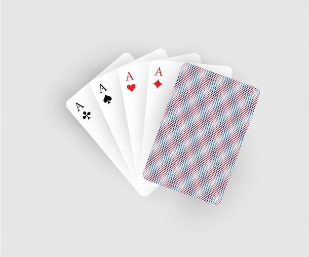 Ilustracja karty do gry, pięć kart z czterema asami na białym tle.