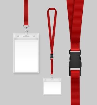 Ilustracja karty identyfikacyjnej z czerwoną wstążką.