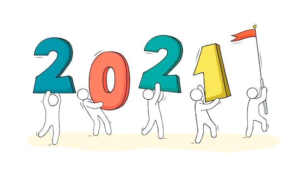 Ilustracja karty szczęśliwego nowego roku 2021