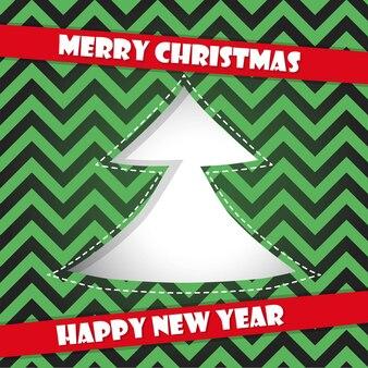 Ilustracja karty szczęśliwego nowego roku z choinką