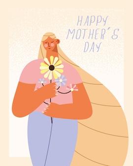 Ilustracja karty z pozdrowieniami dzień matki