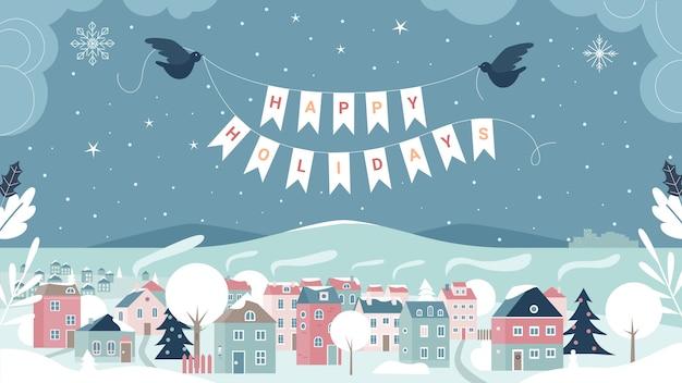 Ilustracja karty z pozdrowieniami szczęśliwy zimowe wakacje.