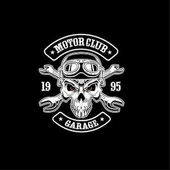 Ilustracja kask motocyklowy czaszki
