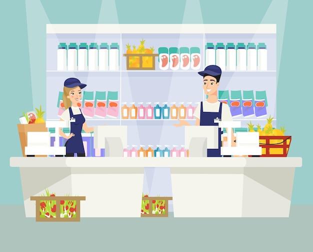Ilustracja kasy supermarketu samce i samice postaci z kreskówek kasjera