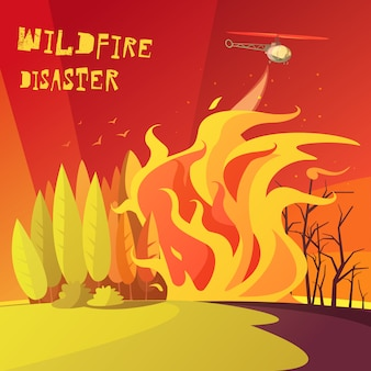 Ilustracja katastrofy wildfire