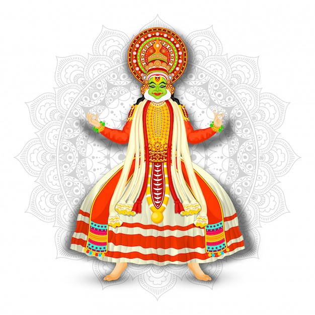 Ilustracja kathakali tancerz na białym mandala wzoru tle.