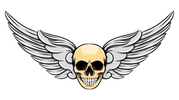 Ilustracja kątowe skrzydła z ludzką martwą czaszką
