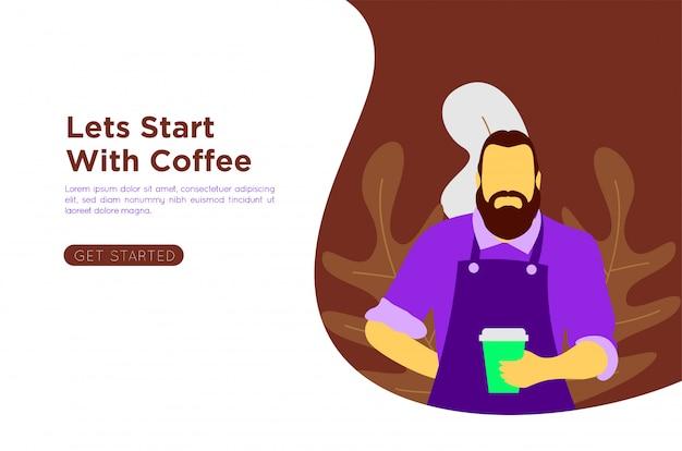 Ilustracja kawa płaski barista