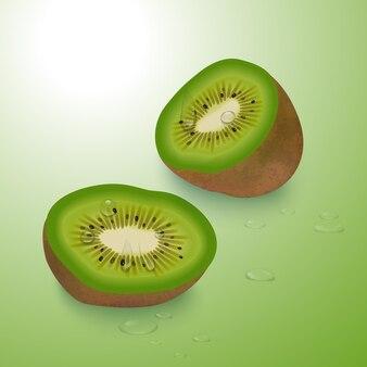 Ilustracja kawałki owoców kiwi
