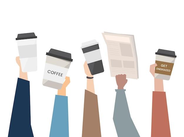 Ilustracja kawy w podróży