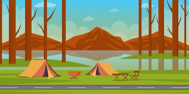 Ilustracja kemping lato w stylu płaski