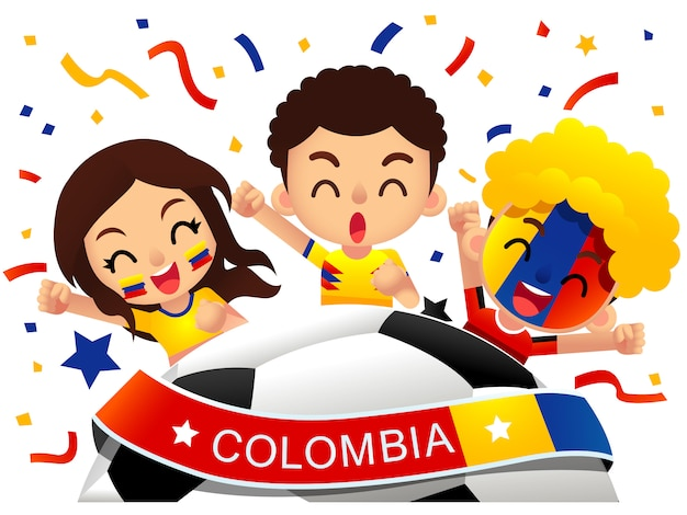 Ilustracja kibiców piłki nożnej w kolumbii