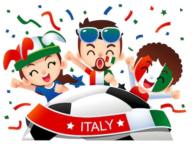 Ilustracja kibiców piłki nożnej we włoszech