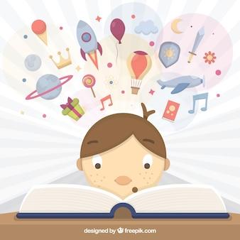 Ilustracja kid czyta książkę