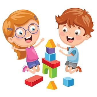 Ilustracja kid gra z klocków