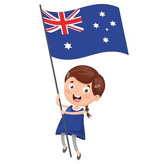 Ilustracja kid holding australia flag
