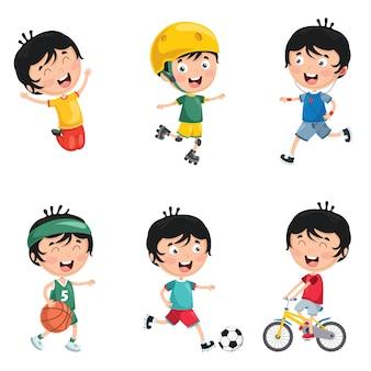 Ilustracja kids codzienne rutynowe czynności