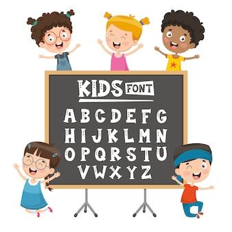 Ilustracja kids design czcionki