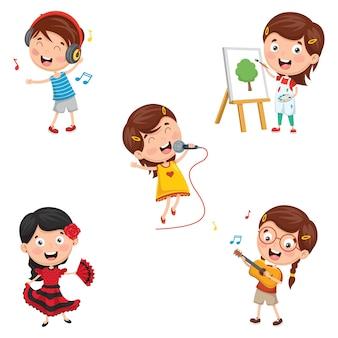 Ilustracja kids making art performance