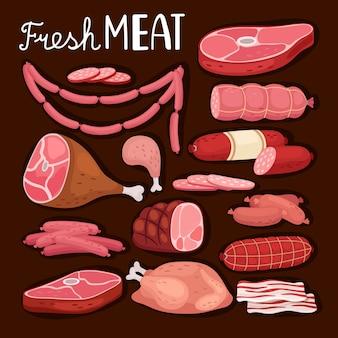 Ilustracja kiełbaski. świeże mięso i gotowana kiełbasa, salami i kurczak, surowa polędwica wieprzowa w plasterkach i gotowana szynka na grilla i zakupy dla smakoszy