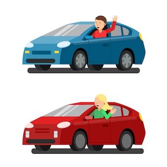 Ilustracja kierowców płci męskiej i żeńskiej w samochodach.