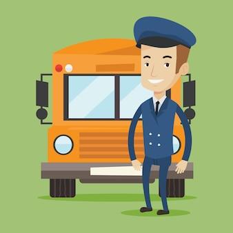 Ilustracja kierowcy autobusu szkolnego.