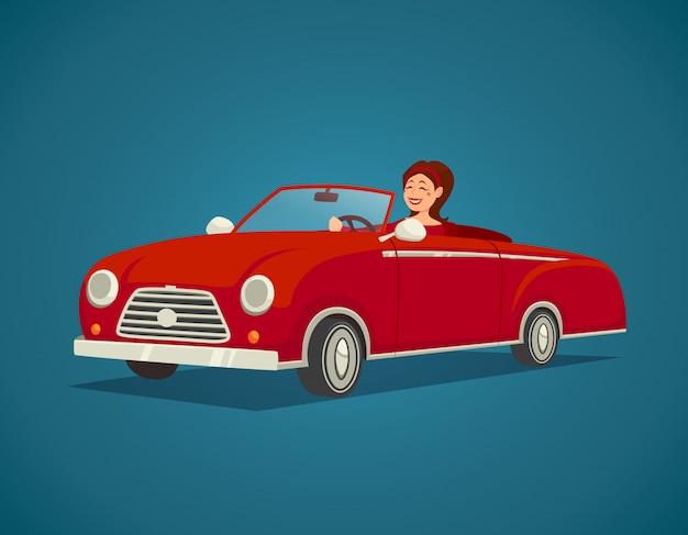 Ilustracja kierowcy kobieta