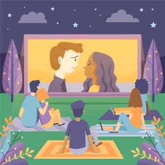 Ilustracja kino na świeżym powietrzu