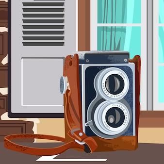 Ilustracja klasyczna retro kamera z okno