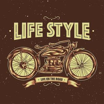 Ilustracja klasycznego motocykla
