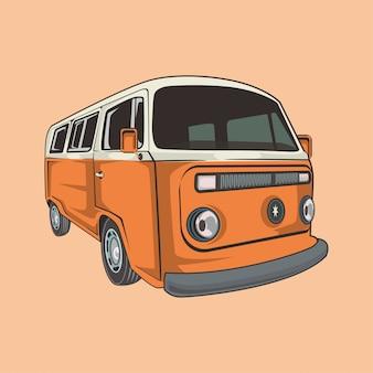 Ilustracja klasycznego samochodu kempingowego
