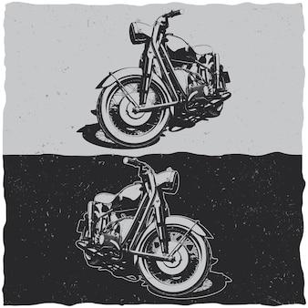Ilustracja klasycznych motocykli w czerni i bieli
