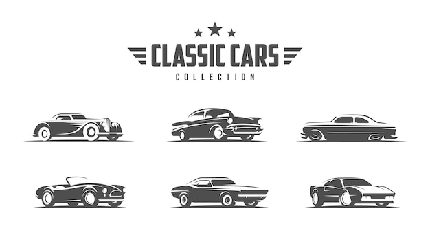 Ilustracja klasycznych samochodów. logo samochodu