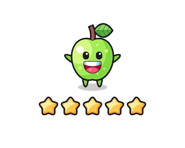Ilustracja klienta najlepsza ocena, śliczna postać zielonego jabłka z 5 gwiazdkami, ładny styl na koszulkę, naklejkę, element logo