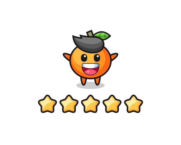 Ilustracja klienta najlepsza ocena, urocza postać mandarynki z 5 gwiazdkami, ładny styl na koszulkę, naklejkę, element logo