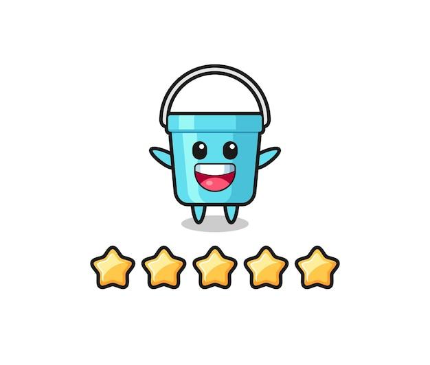 Ilustracja klienta najlepsza ocena, urocza postać plastikowego wiadra z 5 gwiazdkami, ładny styl na koszulkę, naklejkę, element logo