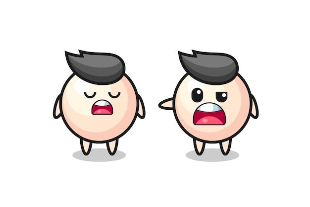 Ilustracja kłótni między dwoma uroczymi perłowymi postaciami, uroczym stylem na koszulkę, naklejkę, element logo