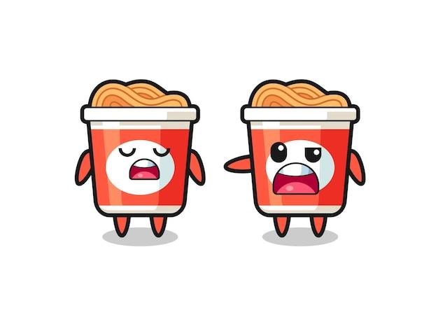 Ilustracja kłótni między dwoma uroczymi postaciami z makaronem błyskawicznym, uroczym stylem na koszulkę, naklejkę, element logo