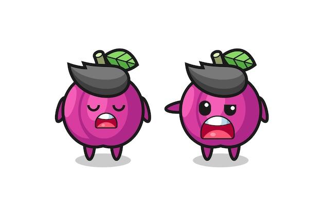 Ilustracja kłótni między dwoma uroczymi postaciami z owoców śliwki, uroczym stylem na koszulkę, naklejkę, element logo