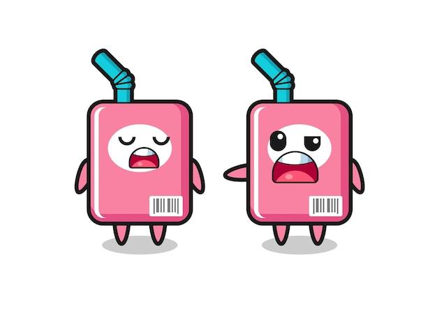 Ilustracja kłótni między dwoma uroczymi postaciami z pudełka na mleko, uroczym stylem na koszulkę, naklejkę, element logo