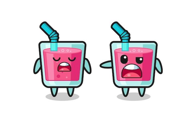 Ilustracja kłótni między dwoma uroczymi postaciami z soku truskawkowego, uroczym stylem na koszulkę, naklejkę, element logo